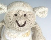 """Queen Anne's Sheep - Mixed Fiber Hand Knit Large Stuffed Animal - Toy Lamb, 14"""" tall"""