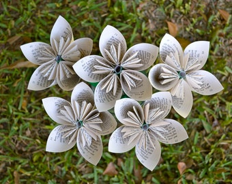 Wuthering Heights Recycled Book Paper Flowers {5 Medium Size}