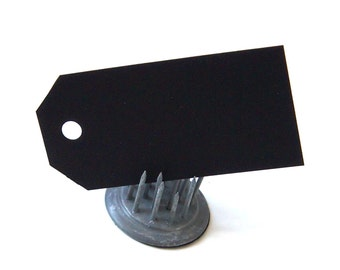 "20 Classic Cut Mini Craft Tags in BLACK . 1.25"" x 2.5"""