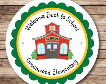 Back to School House Personalized Stickers or Tags