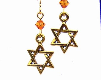 Gold Star of David earrings, antiqued gold pewter Star of David earrings, Hanukkah earrings, Judaica earrings