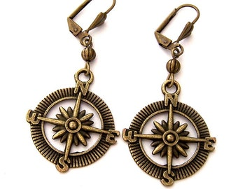 Compass earrings, antiqued brass earrings, vintage style direction earrings, steampunk compass, travel gift