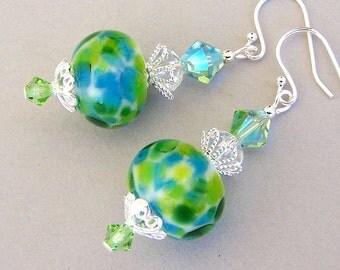 Green and blue lampwork crystal earrings with sterling silver earwires, green artisan lampwork glass beads - Ocean Breeze
