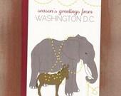 Season's Greetings From Washington D.C. Elephant & Donkey Holiday Cards (10/box)