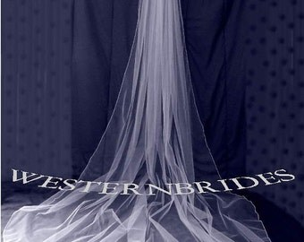 1 TIER CATHEDRAL Veil . White, ivory, Diamond white. Ready to wear on silver comb