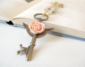 KEY with WINGS // Vintage brass Key with wings and pink roses