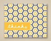 Recycled Thank You Cards - Sunny Yellow and Gray Honeycomb - Pippa