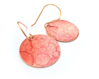 Red Wine Copper Round Disc Earrings - Geometric Oval Round Red Blood Spatter Earrings