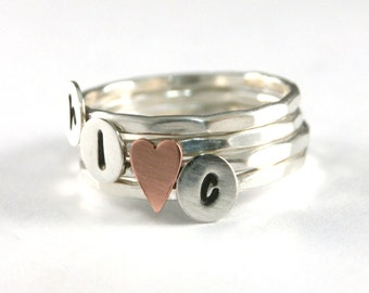 Mothers Ring, Stack Rings, Custom Initial Sweetheart Stack Rings, Sterling Silver Rings, Personalized Rings, Set Of Four
