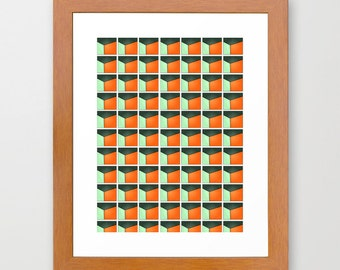 Original Print of Abstract - series 201 in green, orange by Lindsey Baker