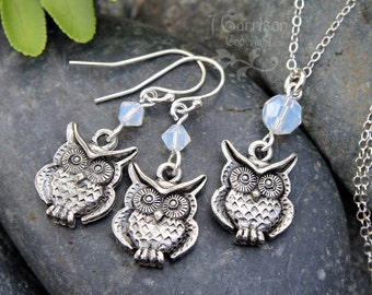 Owl & Opal Moon necklace and earring set- antiqued pewter owl under Swarovski white opal crystal - sterling silver  - free shipping USA