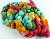 Merino Wool Roving - Hand Painted - Hand Dyed for Spinning or Felting - 4oz - Cluck