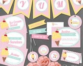 Ice Cream Social Printable Party Collection - Instant Download