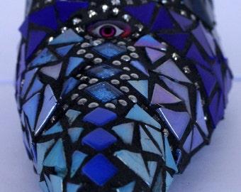 Evil Eye Glas mosaic high heel shoe in shades of blue
