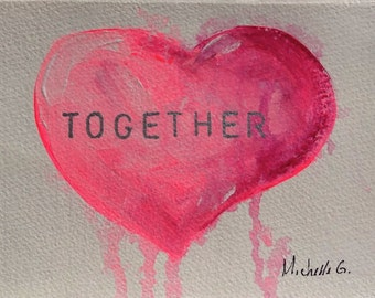 For Couples, Wedding Gift, Engagement Gift, Original Painting, Pink Heart, Romantic Gift, For Her, Together, Inspirational Art, Painting