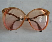giant 1970's round glasses in peachy coral