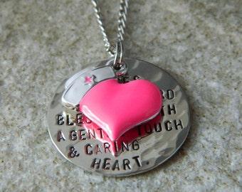 Nurses Prayer  Handstamped Necklace with Enameled Heart