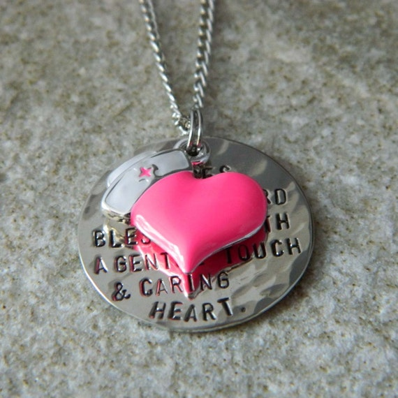 nurses prayer handsted necklace with enameled by