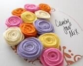 Handmade wool Felt Flowers, Candy Jar Mix, Easter Jellybean Colors - Pink, Purple, Yellow, Orange