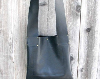 Black Leather Kyoto Cross Body Tote - Handmade