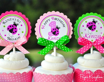 Ladybug Cupcake Toppers with Bows , Ladybug Birthday Party - Set of 12