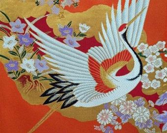 Silk Kimono Bag/Purse/Clutch.Bridesmaid.Long Island Bridal/Wedding/Holiday Gift Custom Handmade..Japanese Crane Bird..Red/Gold Floral..Shawl