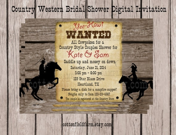 country western cowboy cowgirl digital party invitation. Black Bedroom Furniture Sets. Home Design Ideas
