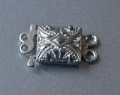 2 Vintage Czech Silver Metal Art Deco Square Double Strand Clasp 12mm x2pieces