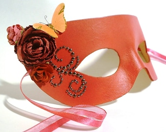 Pink Grapefruit Leather Mask with Butterfly and Flower Accents