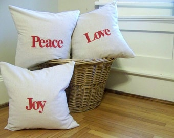 set of 3 embroidered personalized Christmas pillows - red - linen - custom - peace - joy - love - christmas decor - personalized