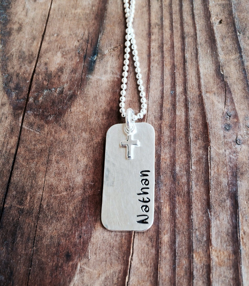 personalized dog tag necklace with cross charm sterling silver. Black Bedroom Furniture Sets. Home Design Ideas