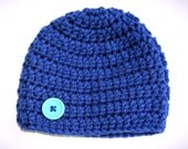 Royal baby hat blue newborn photo prop boy beanie 0 - 3 months Ready to ship