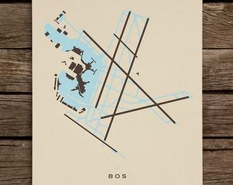 BOS (Logan International Airport) Screenprinted Poster