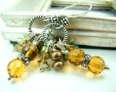 Pearl and crystal long dangle earrings, golden crystal, brown and green pearls, earthy earrings