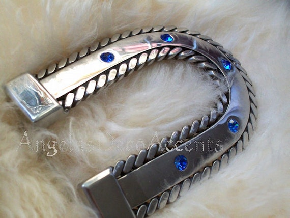 Vintage Horseshoe Buckle Lucky Buckle Stainless Steel Blue Rhinestones~Polished Steel Belt Buckle~Handmade Signed Welded~Men Western Bling