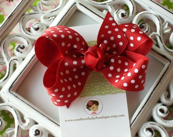 NEW ITEM------Boutique Small Hair Bow Clip-----SWISS Dots-----Red with White