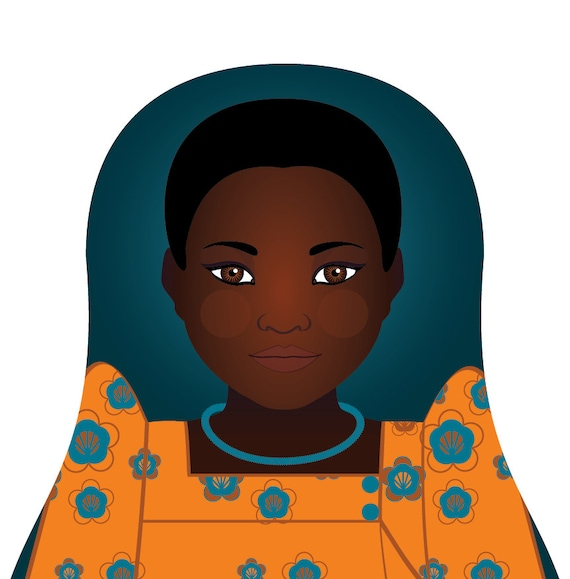 Ugandan Wall Art Print features culturally traditional dress drawn in a Russian matryoshka nesting doll shape