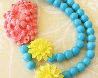 Beaded Necklace Flower Necklace Statement Necklace Bib Necklace Gift For Her Coral Jewelry Turquoise Necklace Multi Strand