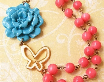 Flower Necklace Coral Jewelry Butterfly Necklace Statement Necklace Turquoise Jewelry Gift Bib Necklace