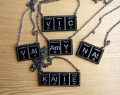 Custom .. Your name in periodic table necklace in black or white versions .