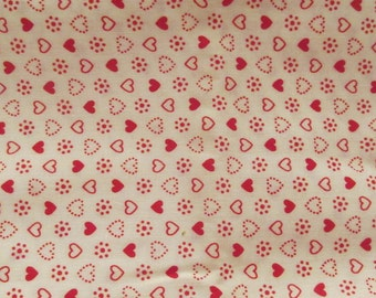 Vintage Cotton Print Hearts 1 yard x 36 inches more available SALE