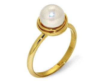 GOLDEN NEST Pearl Engagement Ring ,14K Yellow Gold Pearl Ring, Italian fine jewelry