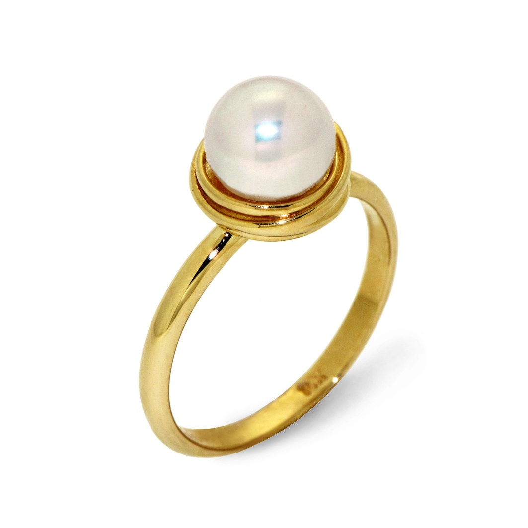golden nest pearl engagement ring 14k yellow gold pearl ring