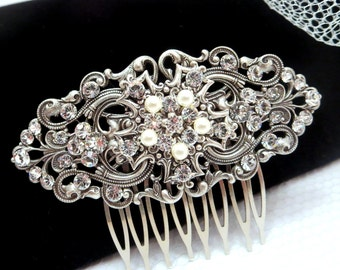 Bridal hair comb, vintage style hair comb, wedding hair comb with Swarovski crystals and Swarovski pearls, Wedding headpiece, Filigree
