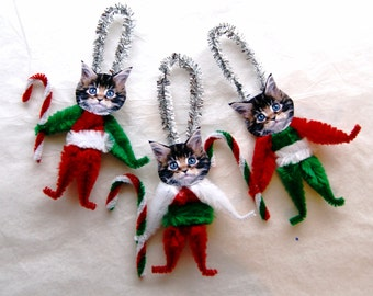 Chenille Ornaments, Cat Ornaments, Vintage Style ,Bump Chenille (119c)