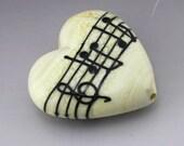 Ivory Cream Heart Focal Music Note Manuscript Black Lampwork Bead Handmade Glass Heather Behrendt  SRA