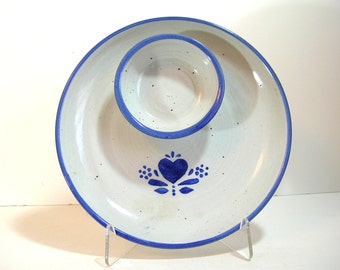 Pottery Chip And Dip Plate