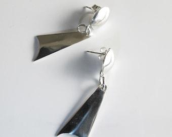 Silver Dangle Earrings: Sterling Drops Hang from Studs