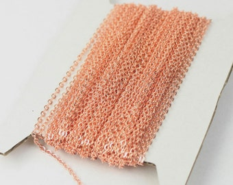 12 ft Copper Chain - 2.4x1.7mm SOLDER Chain - Bright Copper little Oval Flat Soldered Cable Chain - Bulk Wholesale Chain - from USA
