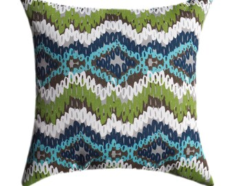 Premier Prints Chino Oxford Decorative Outdoor Throw Pillow - Blue Green Brown Ikat Outdoor Pillow - Free Shipping